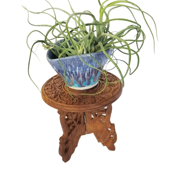 """VINTAGE Plant Stand Carved Sheesham Wood India 6"""""""